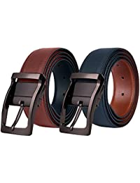 Mens Leather Belt,Reversible Black Dress Belts for Man with Rotated Buckle