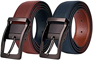 Mens Leather Belt, Reversible Black Dress Belts for Man with Rotated Buckle