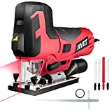 Goplus 6.5 Amp Jig Saw with Laser and LED Light, Max Bevel Cutting Angle (-45°-45°), 6 Variable Speed, Includes Guide Ruler and 4 Blades Metal Review