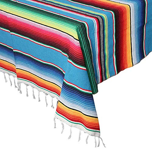 OurWarm 59 x 84 Inch Mexican Serape Blanket Tablecloth for Mexican Party Wedding Decorations, Large Square Cotton Table Cloth Colorful Mexican Blanket Outdoor Table Cover (Blue)]()