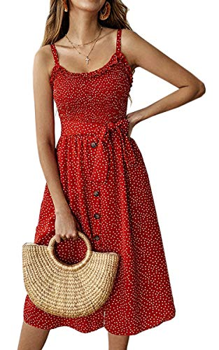 (Angashion Women's Dresses - Summer Boho Floral Spaghetti Strap Button Down Belt Swing A line Midi Dress with Pockets 016 Red)