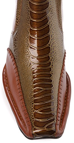 Alberto Fellini Mens Western Style Slip-On Side Zipper Patent-Leather Cowboy Boots Shoes Brown 5z2xP