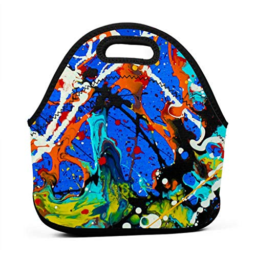 (NBXIXI Flow Sprinkle Colorful Pigment Splash Lunch Bags Multi-Purpose Bento Boxes Lightweight and Reusable Tote Bag for Youth)
