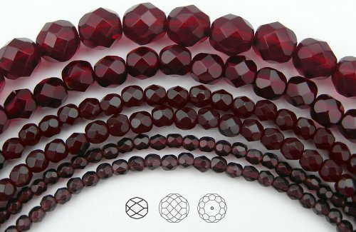 6mm (68) Garnet, Czech Fire Polished Round Faceted Glass Beads, 16 inch strand