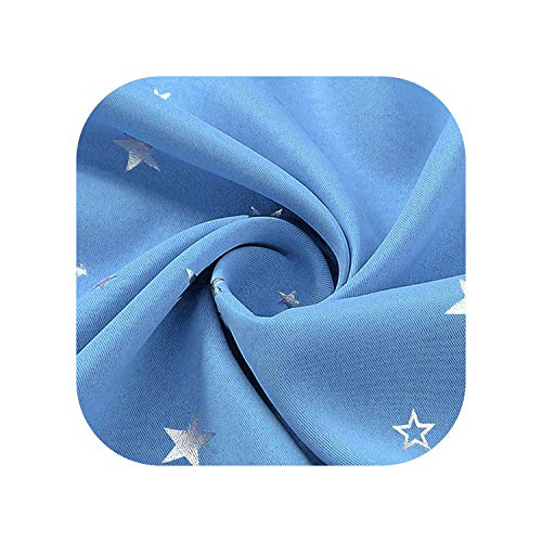 (FAT BIG CAT Shiny Stars Children Cloth Curtains for Kids Boy Girl Bedroom Living Room Blue/Pink Blackout Cortinas Drape wp123#30,Color 3 Cloth,1pc W100CM X H260CM,Ring (Grommet top))