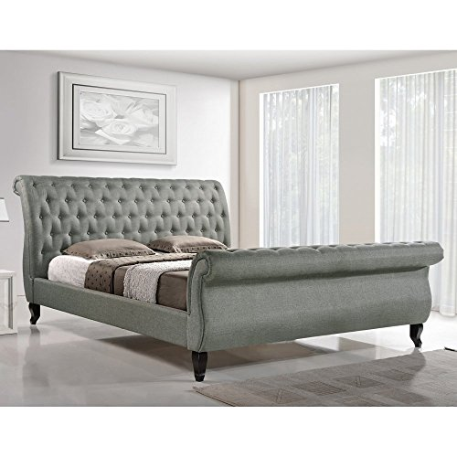 baxton studio marietta tufted upholstered sleigh platform bed - Upholstered Sleigh Bed