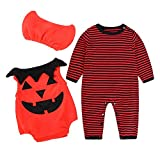 POIUDE Clearance Boys Clothes Baby Long Sleeve Striped Pumpkin Romper Halloween Performance Costume(Red, 6-12Months)