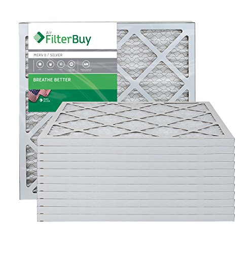 AFB Silver MERV 8 20x20x1 Pleated AC Furnace Air Filter. Pack of 12 Filters. 100% produced in the USA. from FilterBuy