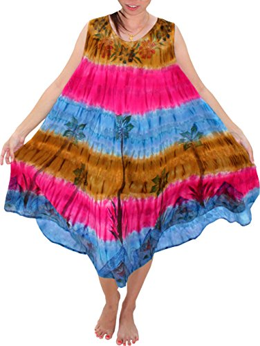 Full Funk Brightly Tie Dyed Capri Throw Over Sac Summer Floral Dress, Large, Brown and Blue ()
