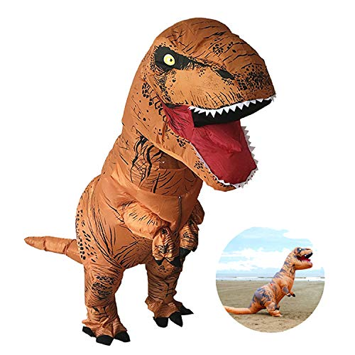 AOFITEE T-Rex Dinosaur Inflatable Costume Adult Halloween Cosplay Party Suit-Brown by AOFITEE