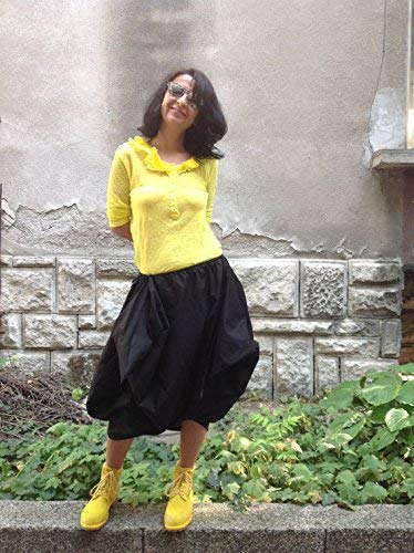Bubble Draped - Black bubble skirt,tulip tunic,lagenlook draped skirt,cotton summer skirt,little black dress,loose versatile top,parachute hem