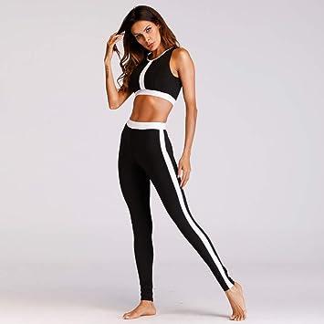 CYJJJK Pantalones de Yoga Fitness Yoga Set Mujeres Negro ...