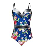 Sexy Bandage Swimsuits Women One Piece Bikini Monokini Push Up Padded Bra Swimwear Swimsuit (Blue, Medium)