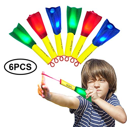 Ivenus Toys Foam Finger Rocket 6-Pack LED Rubber Band Flying Foam Slingshot Rockets -Fun Shooting Flying Games for Outdoor Fun Camping Party -