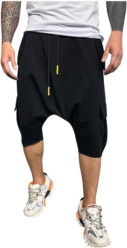 Hombre Pantalones Harem - Pantalones Cortos 3/4 Cómoda Cintura Elástica Pantalones con Cintura Moda Color Sólido Sueltas Casuales Yoga Hippies Pantalon Bombachos Yvelands