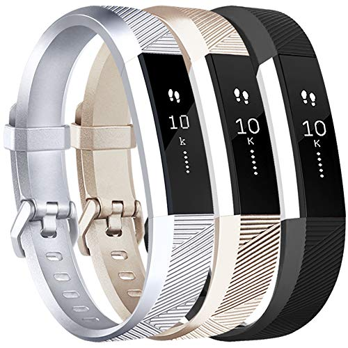 Vancle Replacement Bands Compatible with Fitbit Alta HR and Fitbit Alta (3 Pack), Newest Sport Wristbands with Secure Metal Buckle for Fitbit Alta HR/Fitbit Alta (Silver Gold Black, Small)