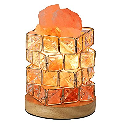 HALOViE Salt Lamp Natural Himalayan Crystal Cube Salt Night Lamps with 15 Watt Light Bulb and Rotary Dimmer Switch