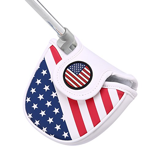 2 Ball Odyssey Headcover Putter (HDE Mallet Putter Cover with Magnetic Closure 2 Ball Leather Headcover Club Protector for Odyssey Taylormade Scotty Cameron Tommy Armour Ping and Callaway Clubs (USA Flag))