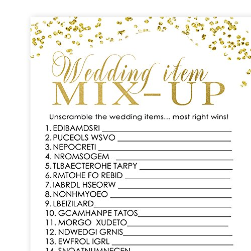 bridal shower word scramble trivia game abstract black and gold 25 sheets hot