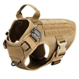 ICEFANG Dog Harness Medium Breed,Tactical Molle Dog Vest,No Pulling Front Clip, Hook and Loop Panel for Dog Patch,Metal Buckle (M 25'-30' Girth), CB-2x Metal Buckle