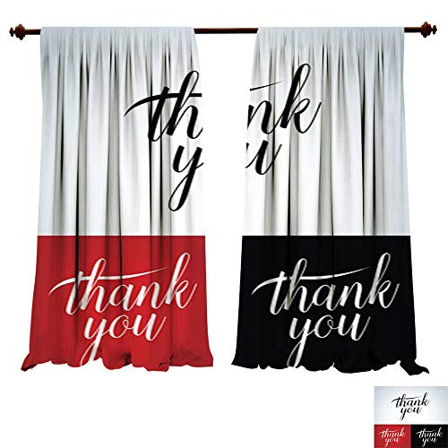 DragonBuildingMaterials Panels Sun Blocking Curtains Thank You Vector Lettering Thank You Card t Shirt Badge Picture Print ()