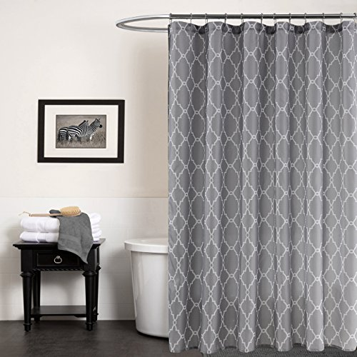 (KindoBest Gray Geometry Pattern Shower Curtains for Bathroom Accessories Waterproof/Easy Care Polyester Fabric Stall Curtain Extra Long Size (71×79 Inch))
