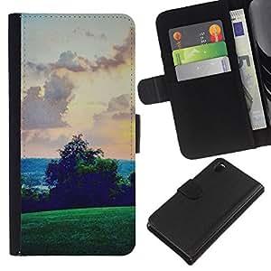 Green Hills Sky View Rosa- la tarjeta de Crédito Slots PU Funda de cuero Monedero caso cubierta de piel Para Sony Xperia Z3 D6603