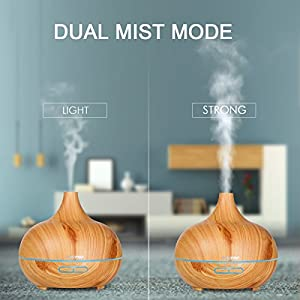 Ultrasonic air humidifier, RISEPRO 300ML Essential Oil Diffuser,4 timer modes w/ multiple mood lights' choices, for Bedroom,Office,Yoga,Study,Spa CK1702