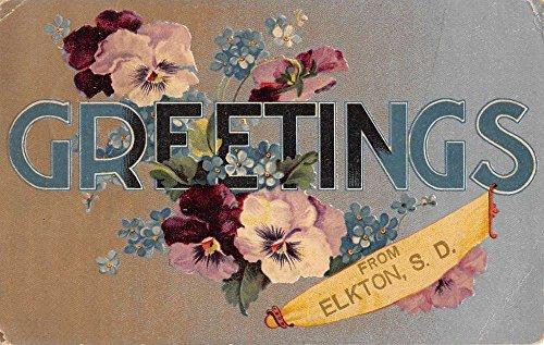 Elkton South Dakota Flower Greeting Antique Postcard K96477