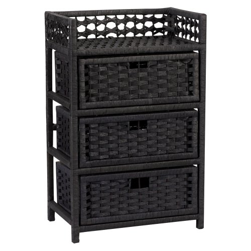 Household Essentials Hand-Woven Paper Rope 3-Drawer Chest, Black - Rattan 3 Drawer Chest