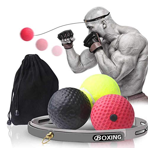 Boxing Reflex Ball,Ultimate Reflex Training Equipment Ball with Headband, Boxing Gear Punching Fight Speed Ball with 3…