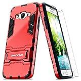 COVRWARE® Samsung Galaxy Grand Prime Case - [Slim Series] Armor Protective Case [Kickstand] [Slim Fit] [Screen Protector]- Red (CW-G530-SL03)