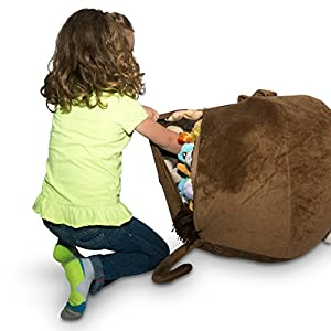 """Jumbo Stuffed Animal Storage Bean Bag [Unfilled] - """"Soft 'n Snuggly"""" Comfy Fabric Kids Love - Monkey, Pig or Elephant - Replace Your Mesh Toy Hammock or Net - Store Extra Blankets & Pillows Too"""