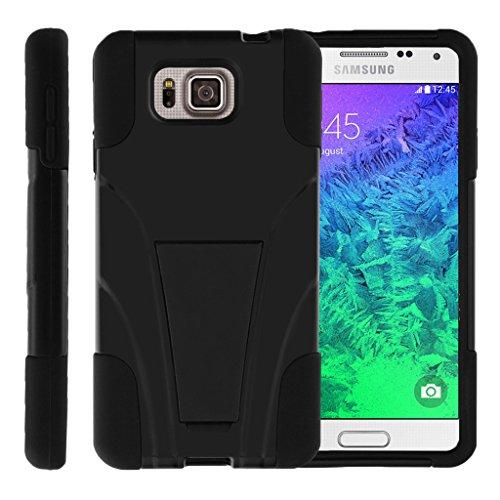 TurtleArmor | Samsung Galaxy Alpha Case | G850 [Gel Max] Dual Layer Hybrid Shock Silicone Hard Shell Case Kickstand Cool Designs - Black