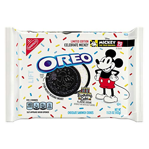Oreo Cookie Cakes - Limited-edition Mickey Mouse Oreos 15.25 OZ. (BIRTHDAY CAKE FLAVOR CREME) (1 PACK)