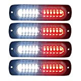 4pcs Ultra Slim 12-LED Surface Mount Grille Flashing Strobe Lights for Truck Car Vehicle Mini LED Light-Head Emergency Beacon Hazard Warning lights 12-24V (Red/White)
