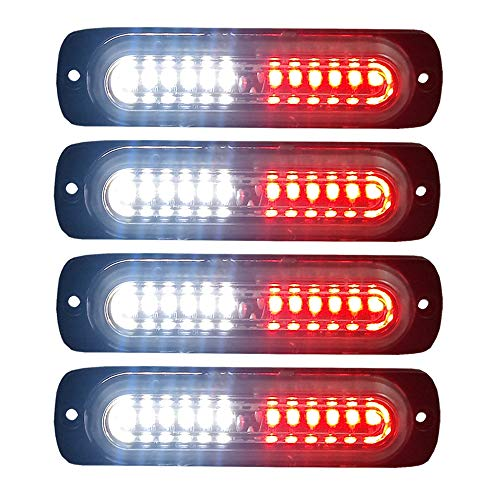 4pcs Ultra Slim 12-LED Surface Mount Grille Flashing Strobe Lights for Truck Car Vehicle Mini LED Light-Head Emergency Beacon Hazard Warning lights 12-24V (Red/White) ()