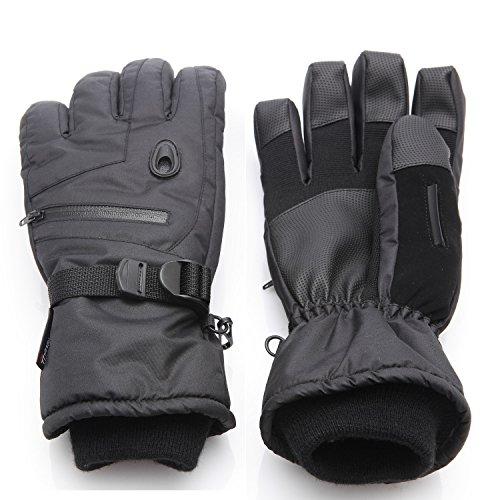 Men Waterproof Thinsulate Ski Snowboard Gloves Winter Warm Gloves Black (L) (Waterproof Mens Ski Glove)