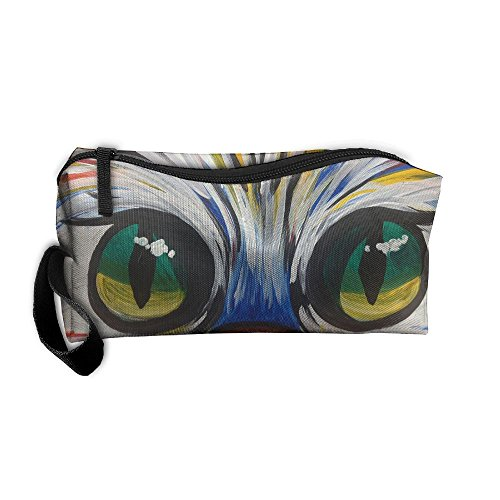 Cosmetic Bags With Zipper Makeup Bag Kitty Face Middle Wallet Hangbag Wristlet Holder ()