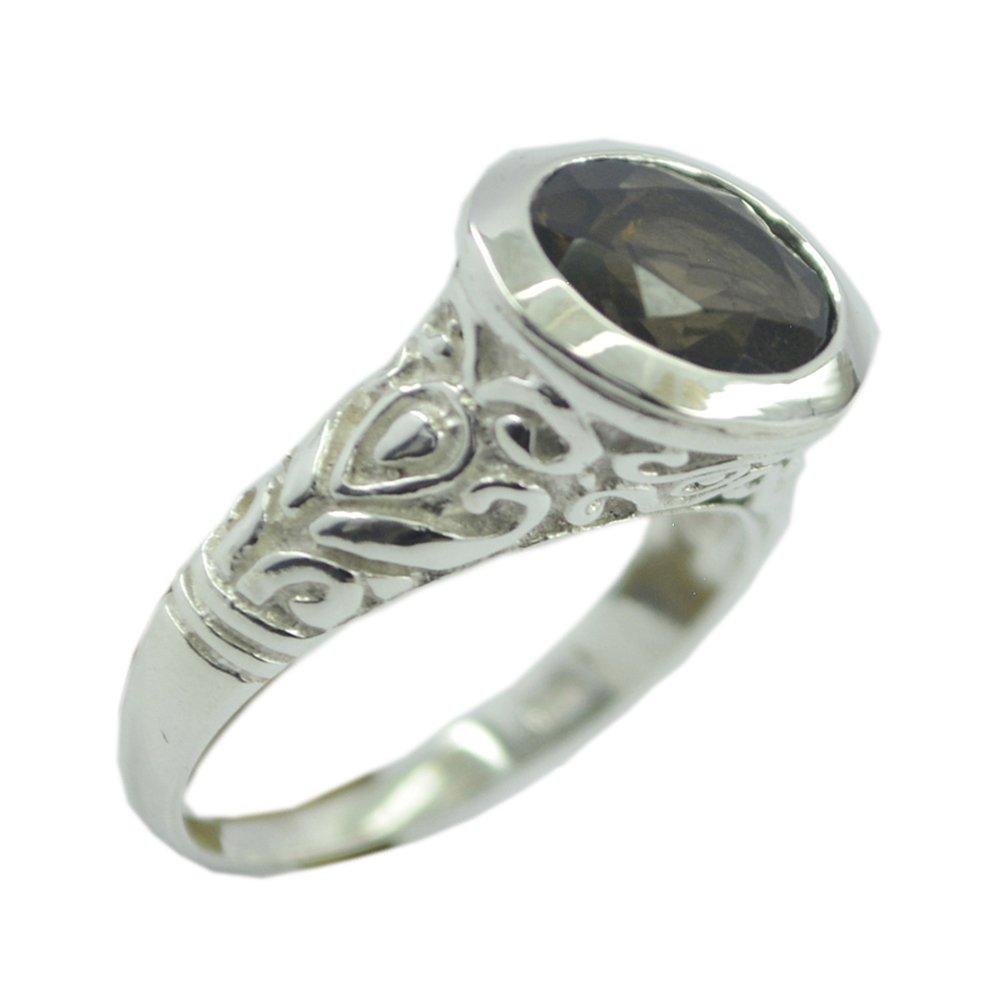55Carat Cheker Genuine Smoky Quartz Sterling Silver Ring for Women Oval Vintage Size 4,5,6,7,8,9,10,11,12