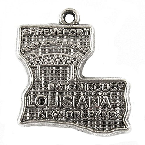 (Silver Metal Pendant Charms - STATE OF LOUISIANA 20x20mm (8 Pieces))
