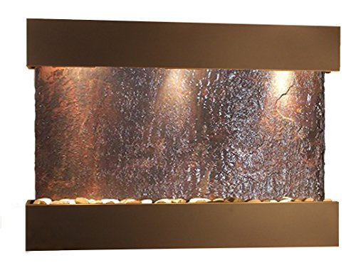 Reflection Creek Water Feature with Blackened Copper Trim and Square Edges (Natural Multi-color Slate)