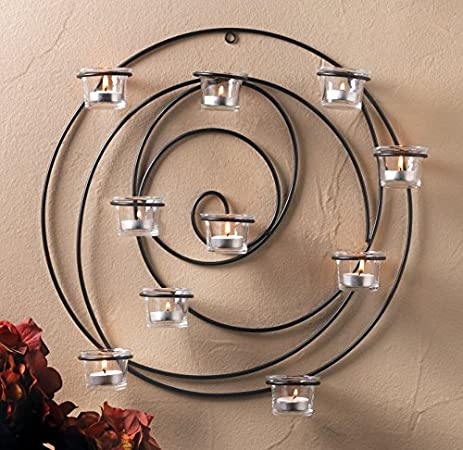 Large Round Circle Black Hypnotic Artisanal Sconce WALL Hanging Candle  Holder
