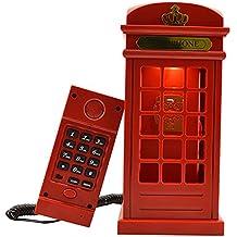 Vintage London Telephone Booth Designed USB Charging LED Night Lamp Touch Sensor Table Desk Light Adjustable Brightness + Corded Landline Telephone for Bedroom Home Decoration Novelty Gift