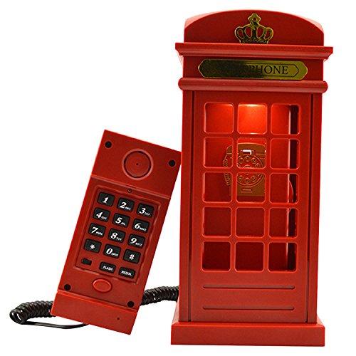 Cabina telefónica Vintage Londres diseñado USB carga noche LED lámpara Touch Sensor mesa escritorio ligero brillo...