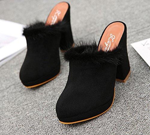 Talons 35 Shopping Black Chaussures Printemps Pantoufles DANDANJIE et Gris Mode Pantoufles Chaussures en Noir Peluche Plein 40 Sourcils Femmes en Air Hauts wgHq6HBYx
