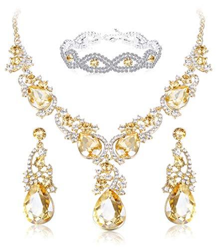 ORAZIO Crystal Wedding Bridal Jewelry Set for Women Rhinestone Necklace Dangle Earring Bracelet for Bride -
