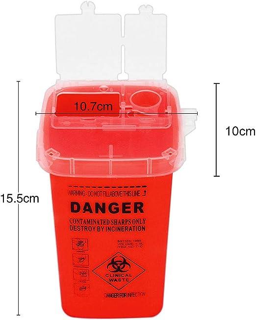 Anself Caja de residuos de tatuajes Contenedor de basura de residuos de agujas del m/édicos Caja de residuos con tapa