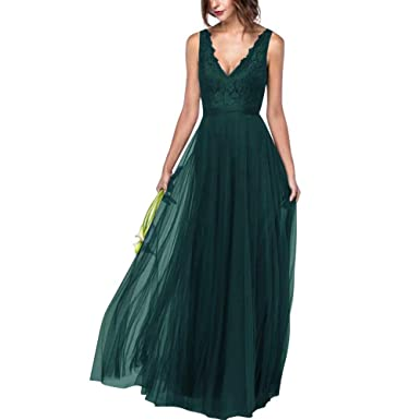 e8701ea90d Women Deep V Neck A-Line Lace Bridesmaid Dresses Long Black Prom Maxi Party  Dress