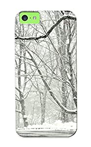 High Grade Abidingwmg Flexible Tpu Case For Iphone 5c - Winter Snow Road Trees Landscape